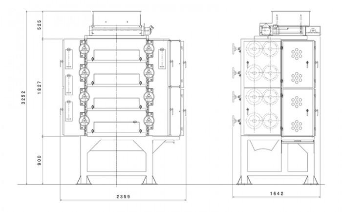 8本ロール粉砕機:寸法図