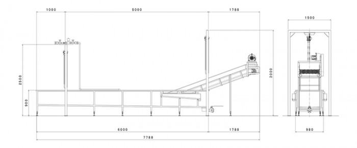 冷却水槽コンベヤー:寸法図