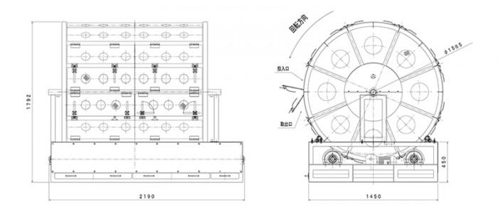 丸型円筒ホイロ:寸法図