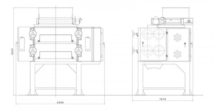 4本ロール粉砕機:寸法図
