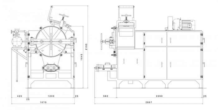 蒸練々機:寸法図