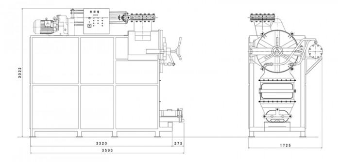 溜り付蒸練々機:寸法図