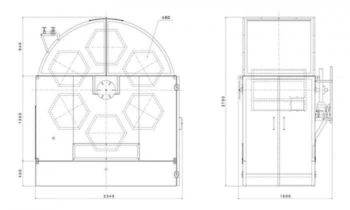 回転ホイロ六角形:寸法図